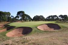 Bunkers guarding the short 7th green