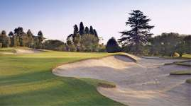 Greenside bunkering on the famous par three 11th
